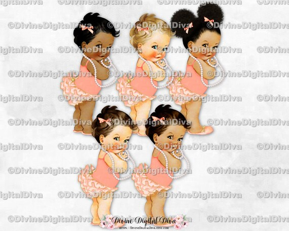 Clipart Instant Download Baby Girl 3 Skin Tones Puffs Pearls Peach Gold Crown Princess Ruffle Pants