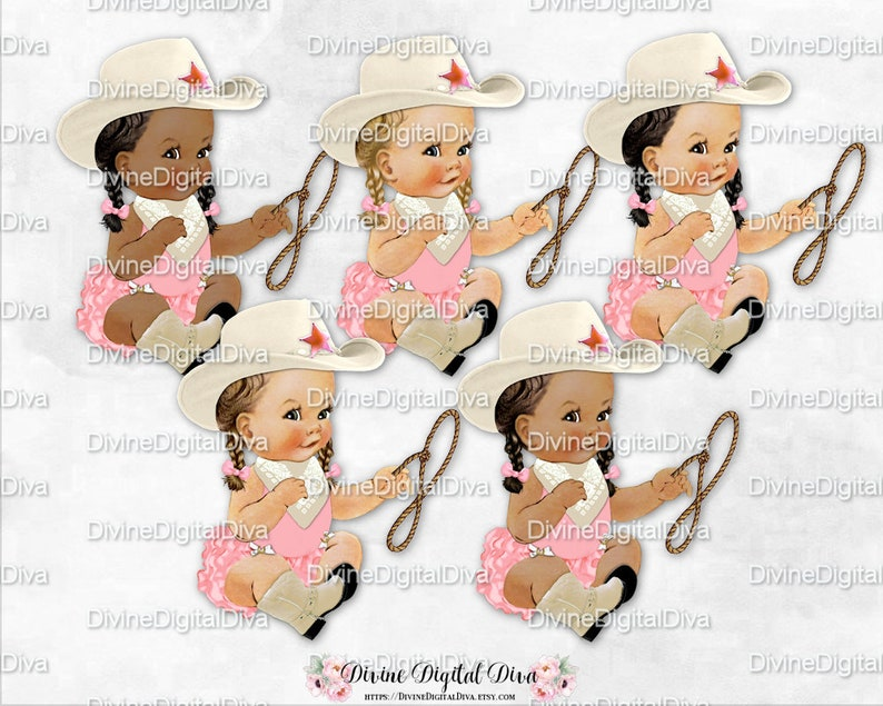 Sitting Little Cowgirl Pink /& Ivory Cowboy Hat Boots Scarf Lasso Vintage Baby Girl 3 Skin Tones Clipart Instant Download