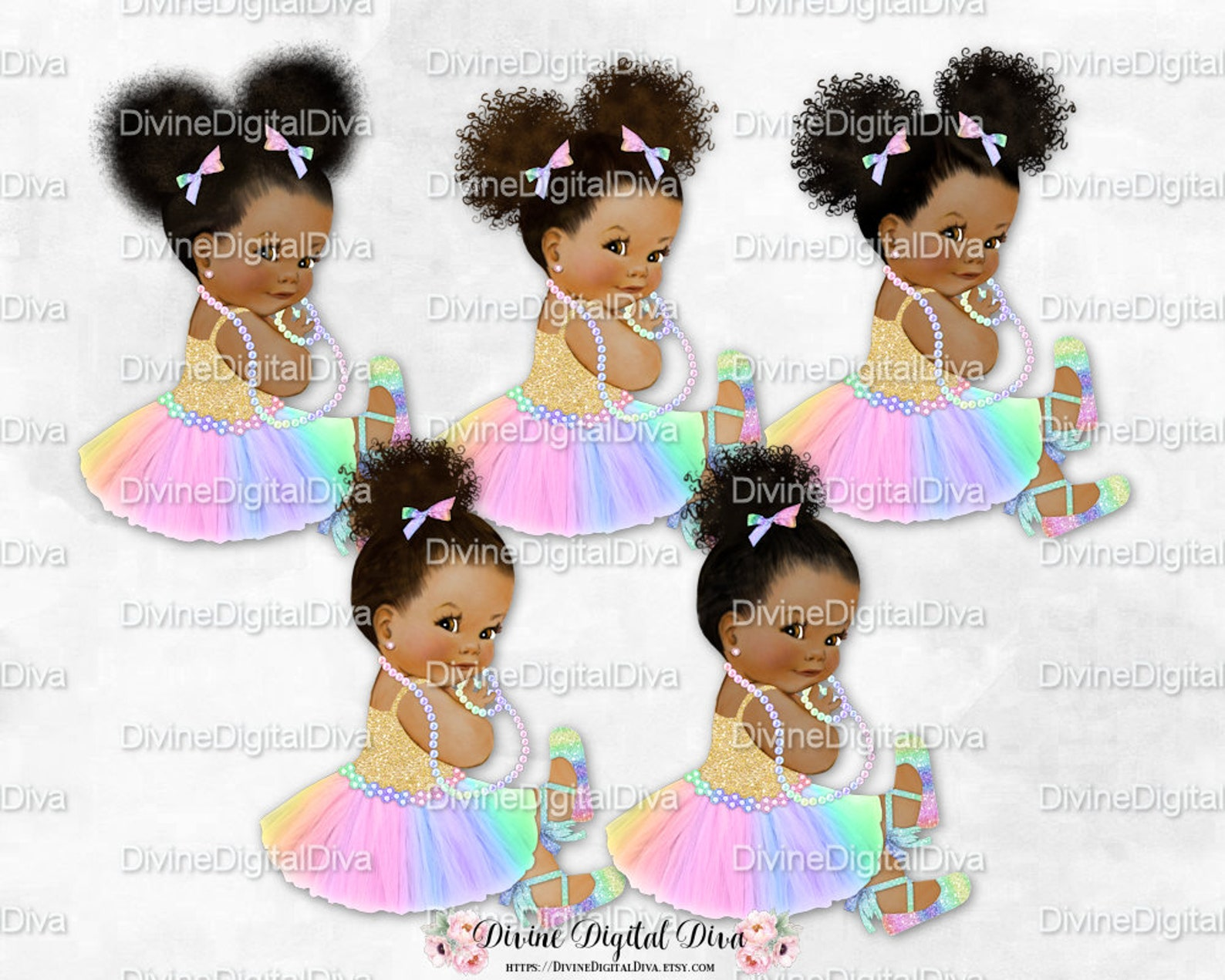 princess pastel rainbow tulle tutu ballet shoe gold shirt sitting | vintage baby girl babies of color | clipart instant download