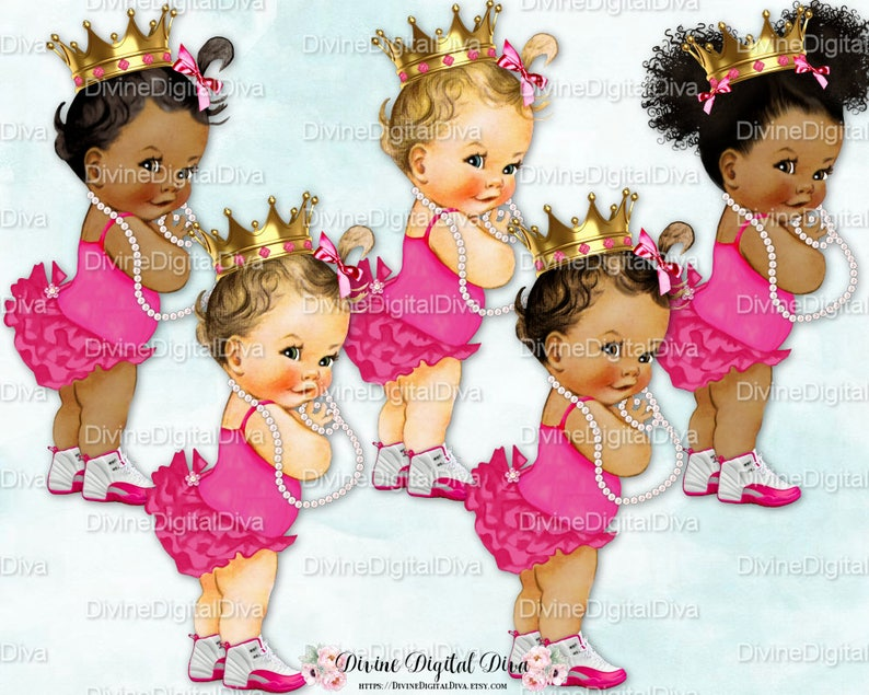 56e51c92017a1 Princess Ruffle Pants & Shirt High Top Sneakers Bright Pink Gold Crown |  Vintage Baby Girl | 3 Skin Tones | Clipart Instant Download