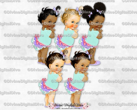 Ruffle Pants Mint /& Gold Sneakers Pearls Clipart Instant Download Baby Girl 3 Skin Tones