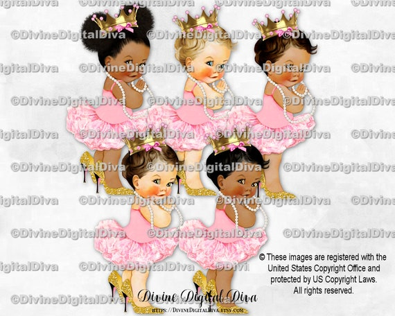Baby Princess Chair Pink Gold High Heels Crown Baby Girl 3 Skin Tones Clipart Instant Download