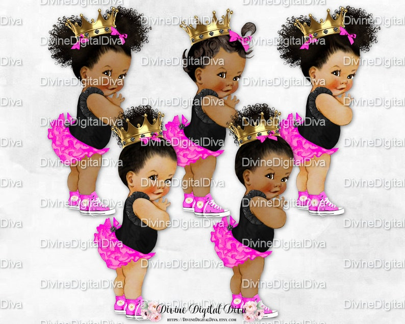 5fef9476aa583 Princess Ruffle Pants Hot Pink Black Gold Crown Sneakers   African American  Baby Girl Puffs Bun   Clipart Instant Download