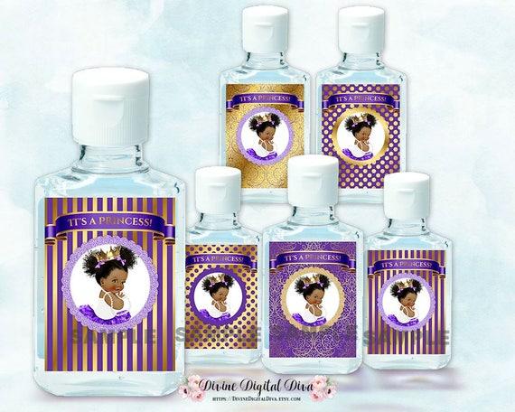 Mini Hand Sanitizer Labels 1 Oz Little Princess Purple