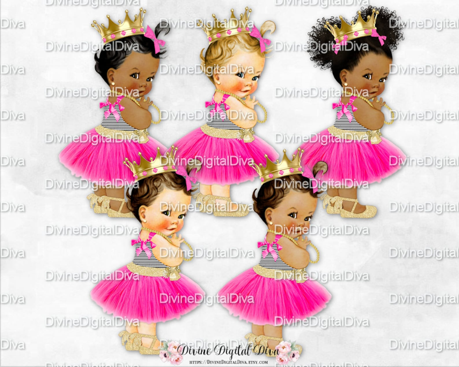 hot pink tulle party dress black stripe gold ballet ribbon shoe gold crown | vintage baby girl 3 skin tones | clipart instant do