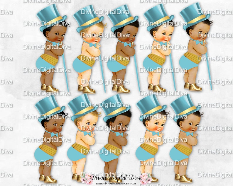 Little Prince Vintage Baby Boy Football 3 Skin Tones Clipart Instant Download Scarlet Red /& Gray