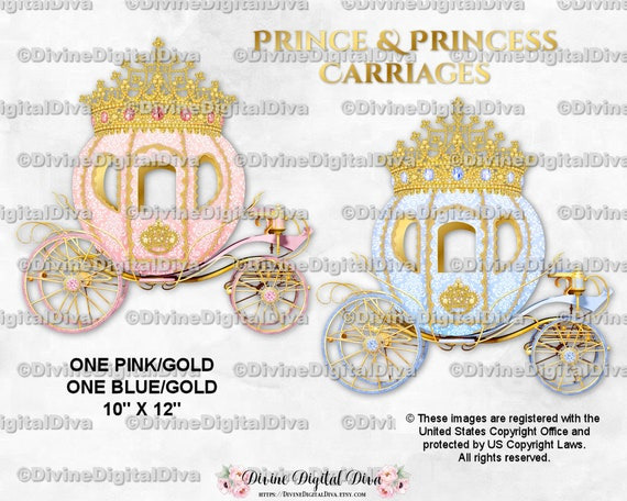 Gold Prince Princess Cinderella Fairytale Carriage Coach Clipart Instant Download