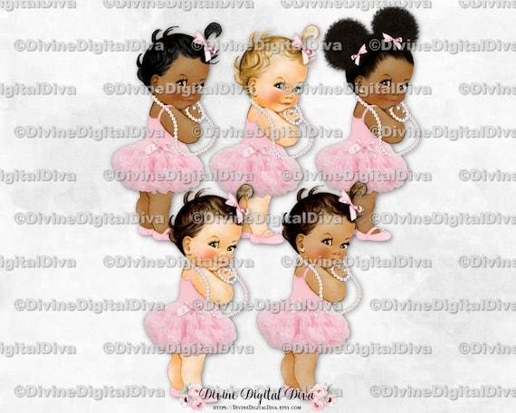 Clipart Instant Download Baby Girl 3 Skin Tones Princess Ballerina Pink Tutu Silver Sneakers Pearls Crown