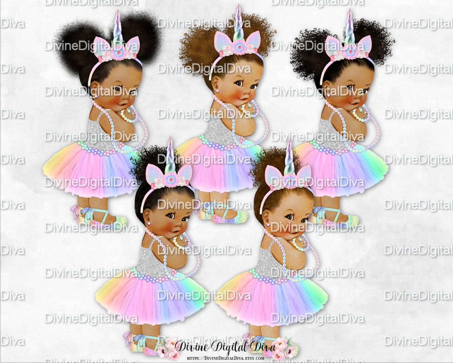 unicorn princess pastel rainbow & silver tutu ballet shoe unicorn horn | vintage baby girl african american tones | clipart inst