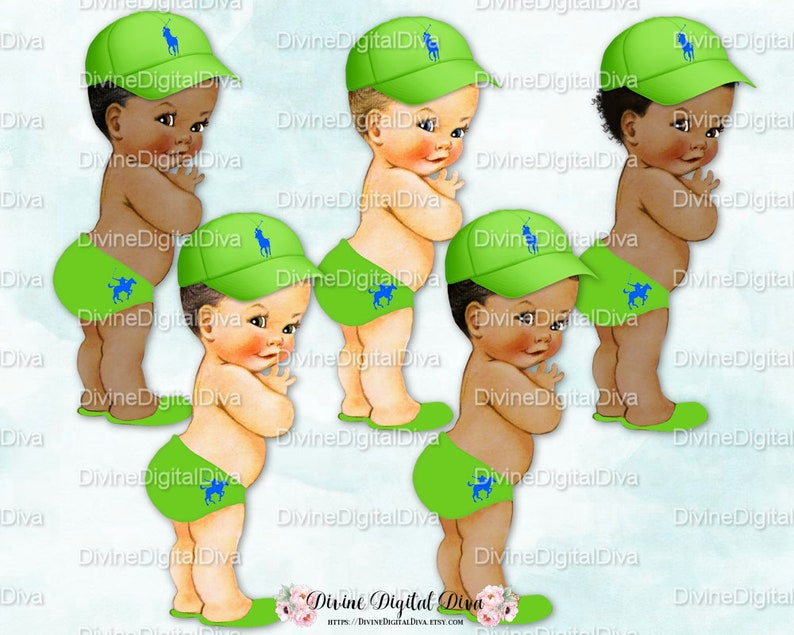 Little Prince Diaper Cap Slippers Hat Ponies Lime Green Royal Blue Clipart Instant Download Baby Boy 3 Skin Tones