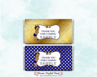 Candy Bar Wrappers Full Size Thank You Little Prince Royal Blue & Gold | Baby Boy Dark Tone | Digital Instant Download