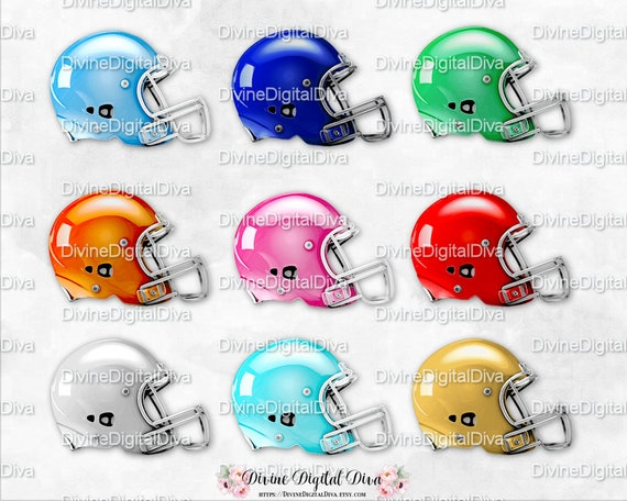 Football Helmet 9 Colors Blue Turquoise Green Orange Red Etsy