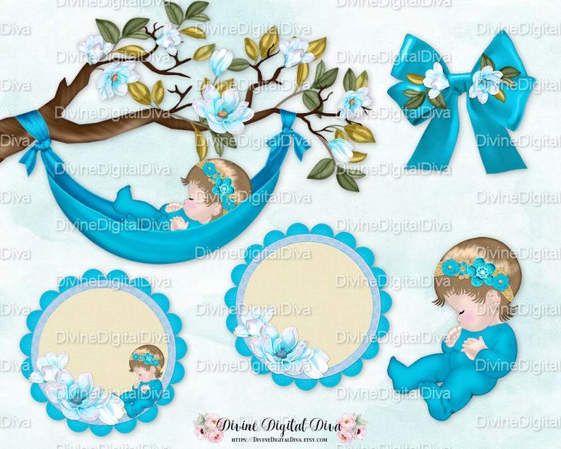 Sleeping Baby Magnolia Tree Branch Turquoise Teal Hammock Etsy