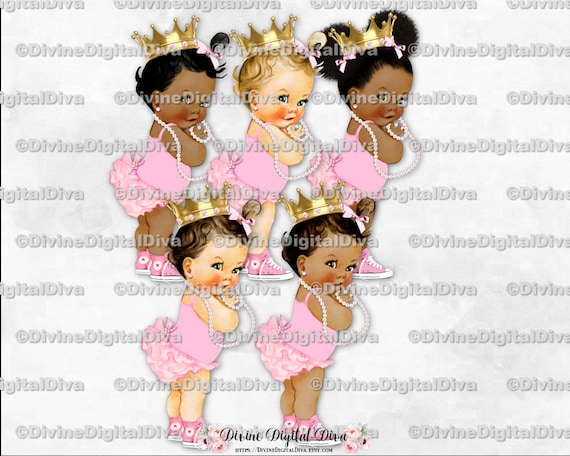 Vintage Baby Girl Baby Girl Sitting Clipart Instant Download 3 Skin Tones Pink Ruffle Pants Pearl Necklace