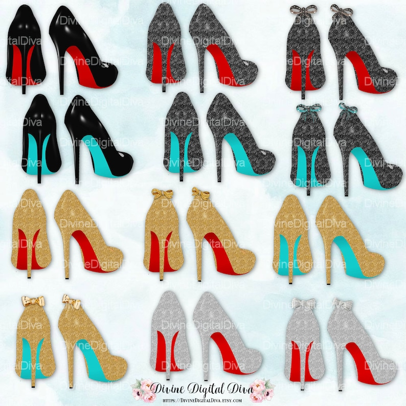 7189cca1784 High Heel Shoes with Red   Turquoise Bottoms Silver Gold
