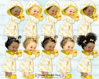 Rubber Ducky Baby Girl Bath Time Bathrobe Duck Yellow    3 Skin Tones   Clipart Instant Download