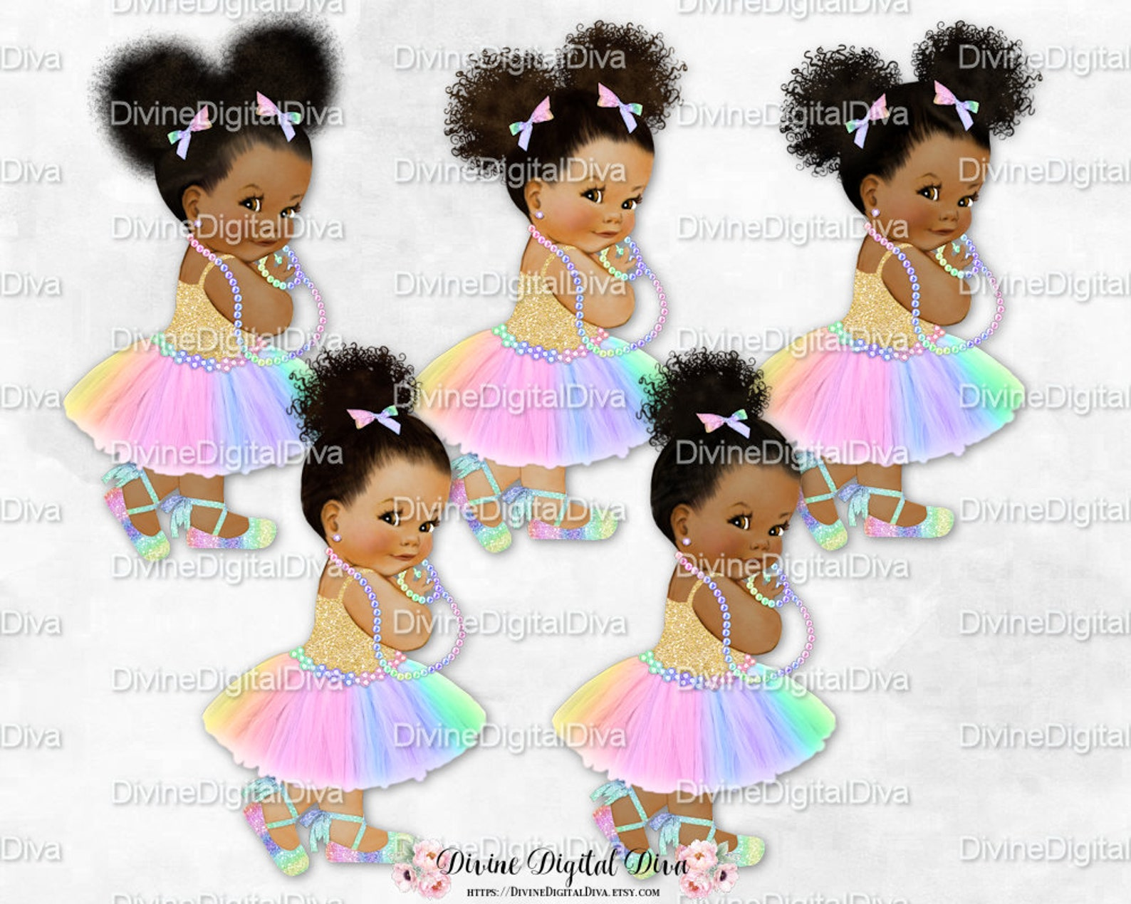 princess pastel rainbow tulle tutu ballet shoe gold shirt leg kick | vintage baby girl babies of color | clipart instant downloa