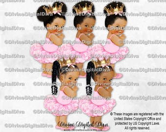 Princess Ballerina Light Pink Tutu Gold Crown | Baby Girl Babies of Color African American Ethnic | Clipart Instant Download