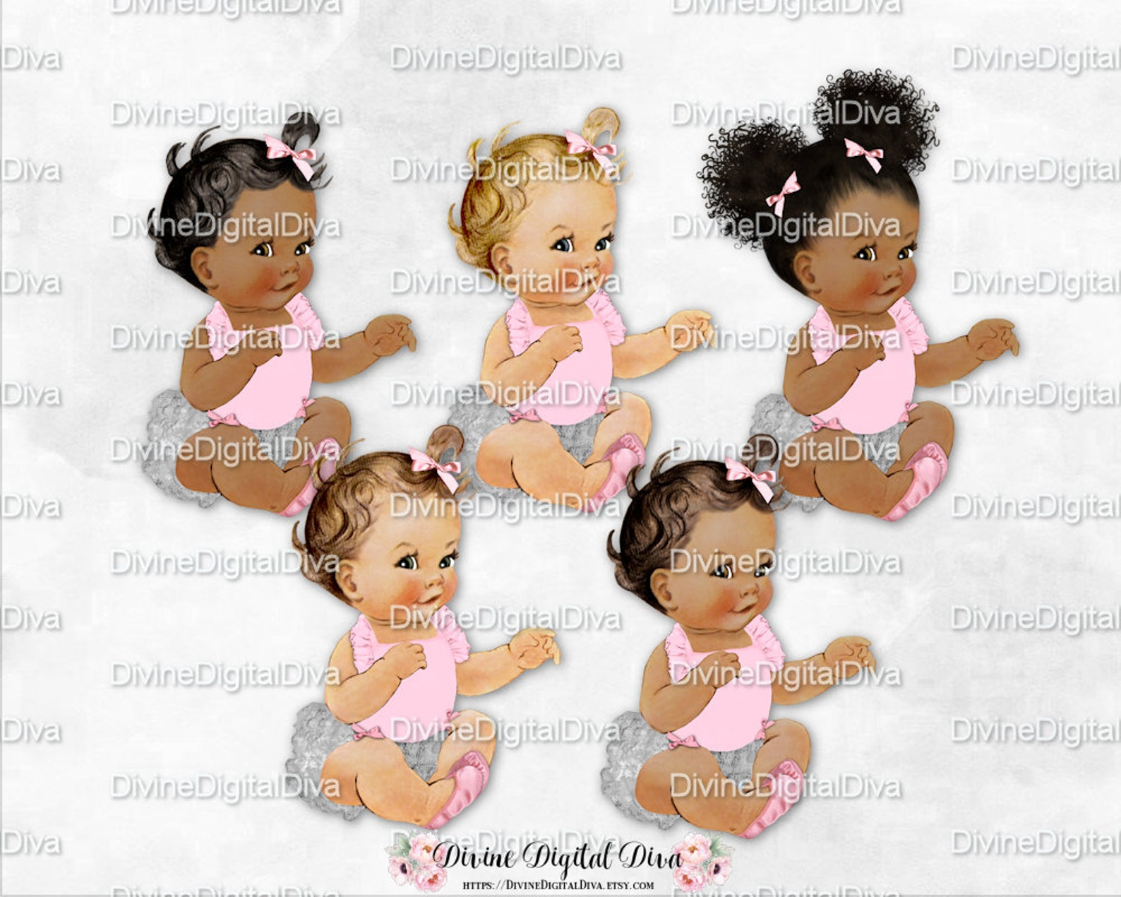 sitting pink silver ruffle pants ballet slipper | vintage baby girl 3 skin tones afro puffs | clipart instant download