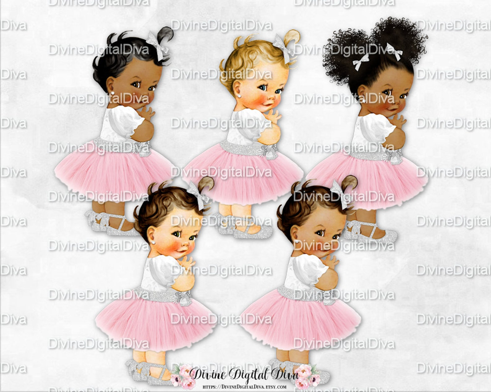 blush pink tulle party dress silver glitter accents ankle ribbon ballet shoe | vintage baby girl afro puffs | clipart instant do
