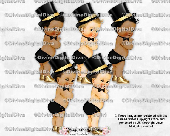 Little Gentleman Light Blue /& Silver Top Hat Bow Tie Clipart Instant Download Sitting Baby Boy 3 Skin Tones
