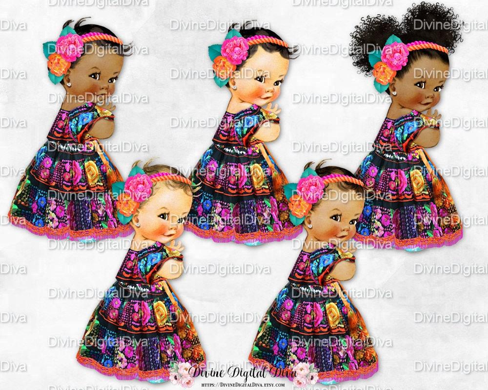 Baby Girl Dress Mexican Embroidery Flower Headband Black Hot Etsy