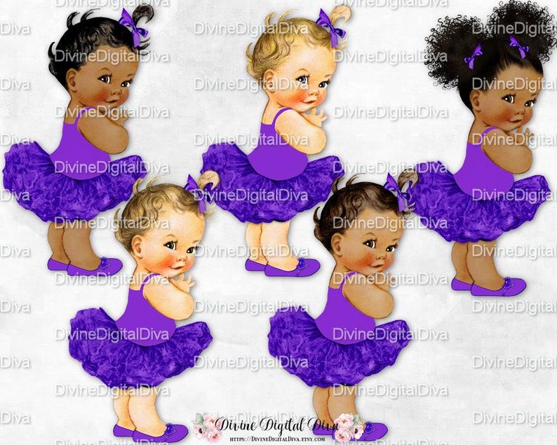 Clipart Instant Download Royal Purple Tutu Ballerina Princess Vintage Girl Baby 3 Skin Tones Afro Puffs