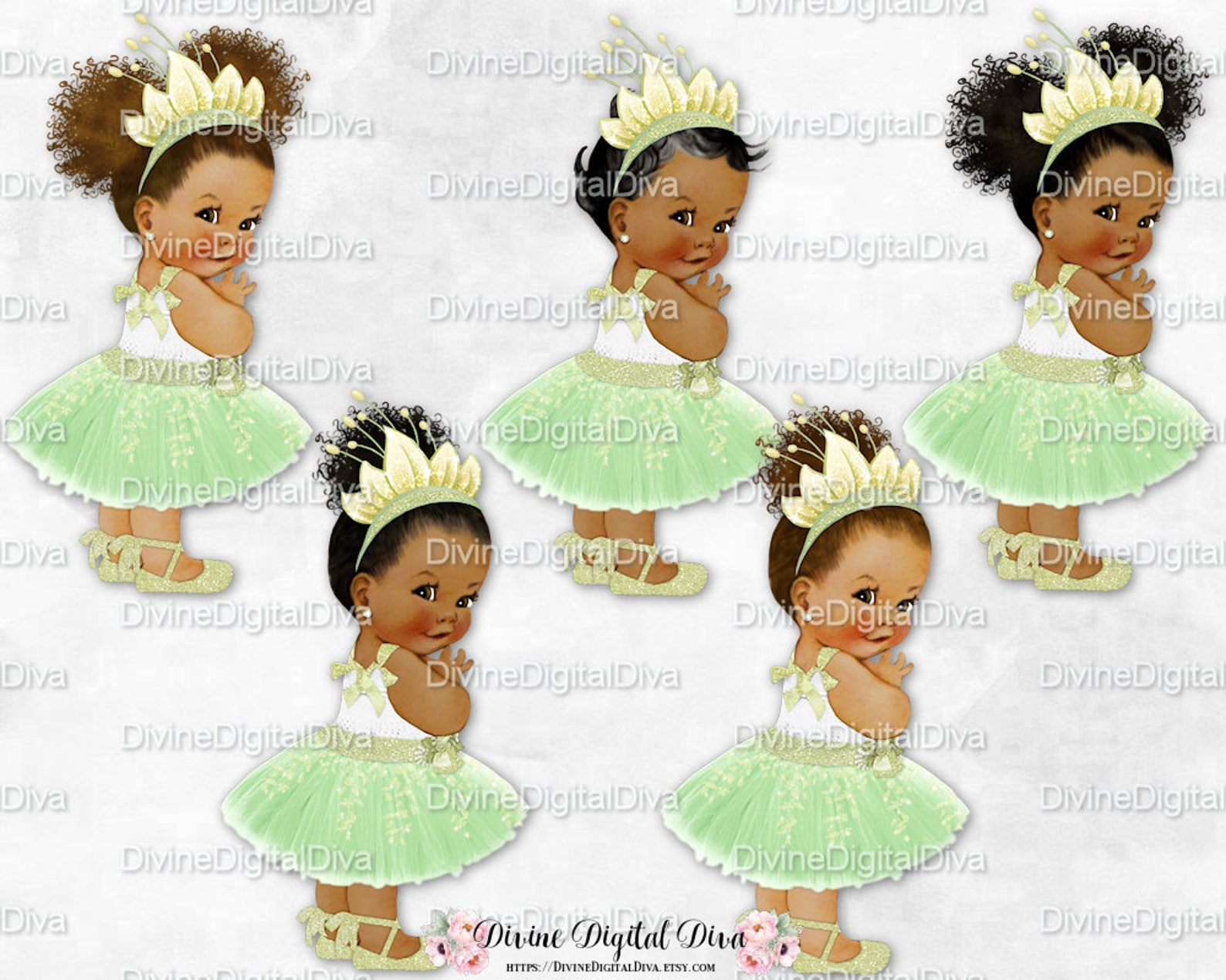 princess green dress leaf tiara ballet shoe | vintage baby girl african american skin tones afro puffs | clipart instant downloa