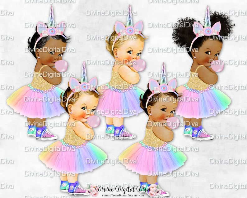 Unicorn Princess Bubble Gum Pink Mint Lavender Gold Tutu Sneakers Unicorn  Horn | Vintage Baby Girl | Clipart Instant Download