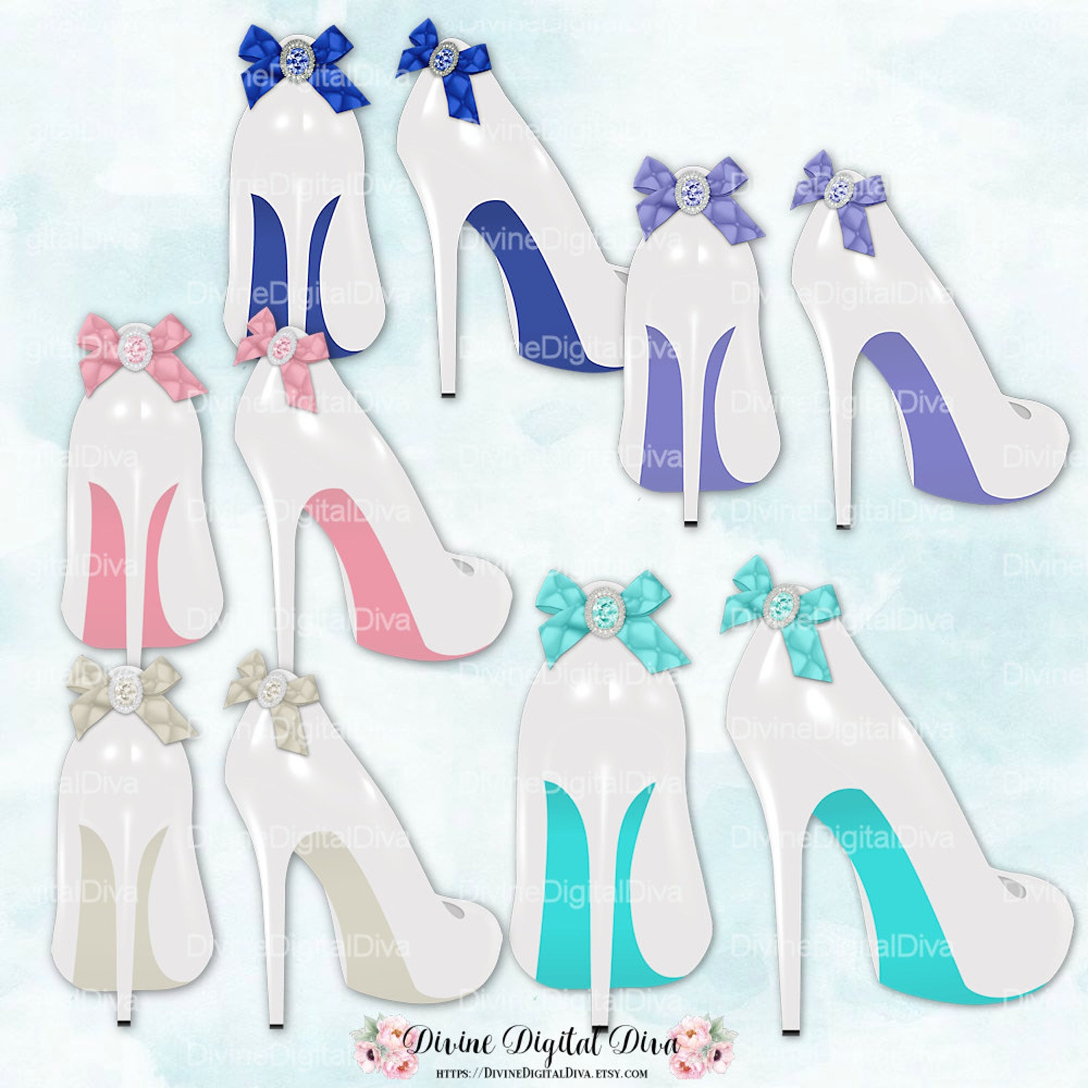 white bridal high heel shoes with color bottoms & matching bows | turquoise blue ballet pink mint peach lavender | clipart insta