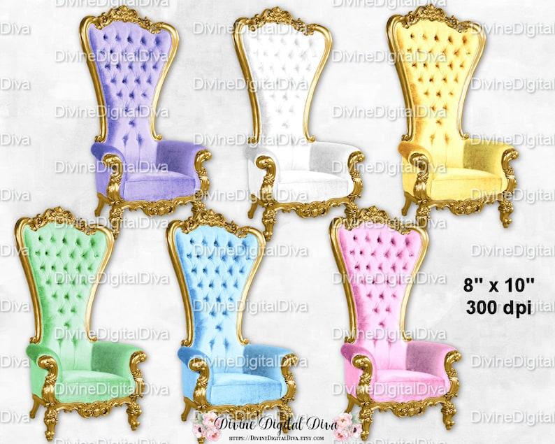 Pastel High Back Chair Royal Throne Velvet Images Yellow Etsy