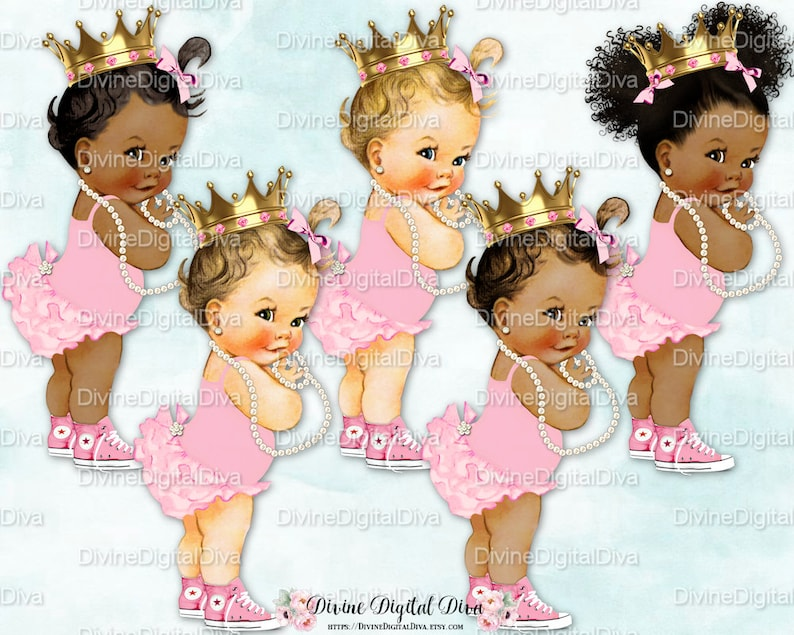 d2da25a65cfd2 Princess Ruffle Pants Pink Sneakers Gold Crown Pearls | Vintage Baby Girl |  3 Skin Tones | Clipart Instant Download