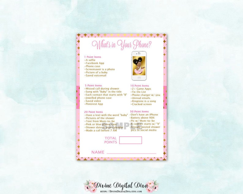 What's In Your Phone Baby Shower Game   Pink Gold   African American  Vintage Girl Afro Puffs   Digital Instant Download