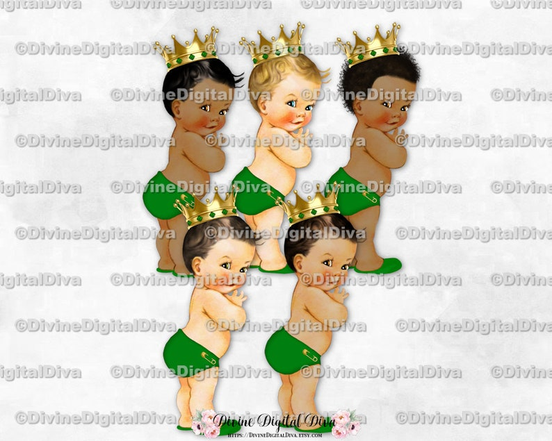 Little Prince Light Green Diaper Slippers Gold Crown Vintage Baby Boy 3 Skin Tones Clipart Instant Download