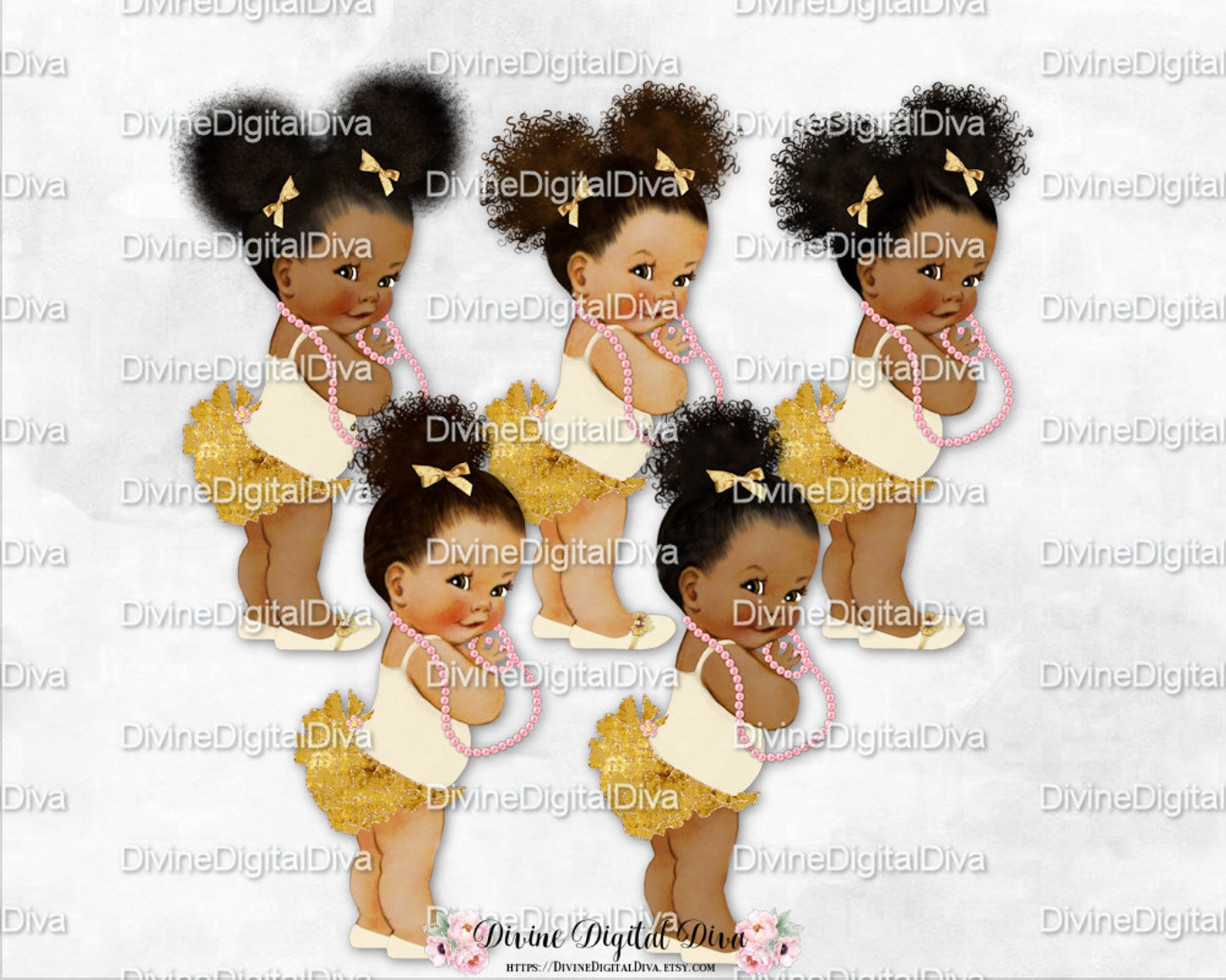 ruffle pants ivory pink & gold ballet flats shoe pink pearls | vintage baby girl babies of color | clipart instant download
