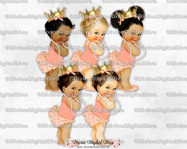 Clipart Instant Download Baby Girl 3 Skin Tones Puffs Princess Ruffle Pants Blush Pink Peach Gold Crown