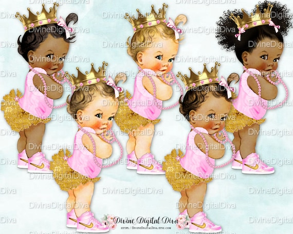 597933498b8d0 Princess Ruffle Pants Pink & Gold High Top Sneakers Crown Pearls | Vintage  Baby Girl 3 Skin Tones | Clipart Instant Download