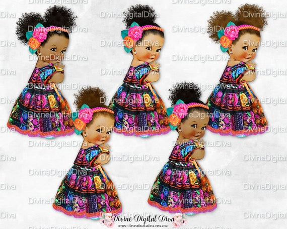 Baby Girl Mexican Embroidered Dress Flower Headband Black Hot  dd4107af498