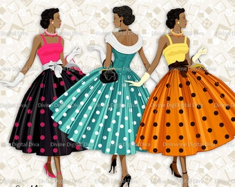 12 Ladies of Color 50s Fashion Polka Dot Dress | Transparent Clipart Digital Images | PNG | Instant Download