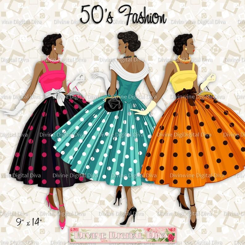 891e05a474d 12 Ladies of Color 50s Fashion Polka Dot Dress Transparent