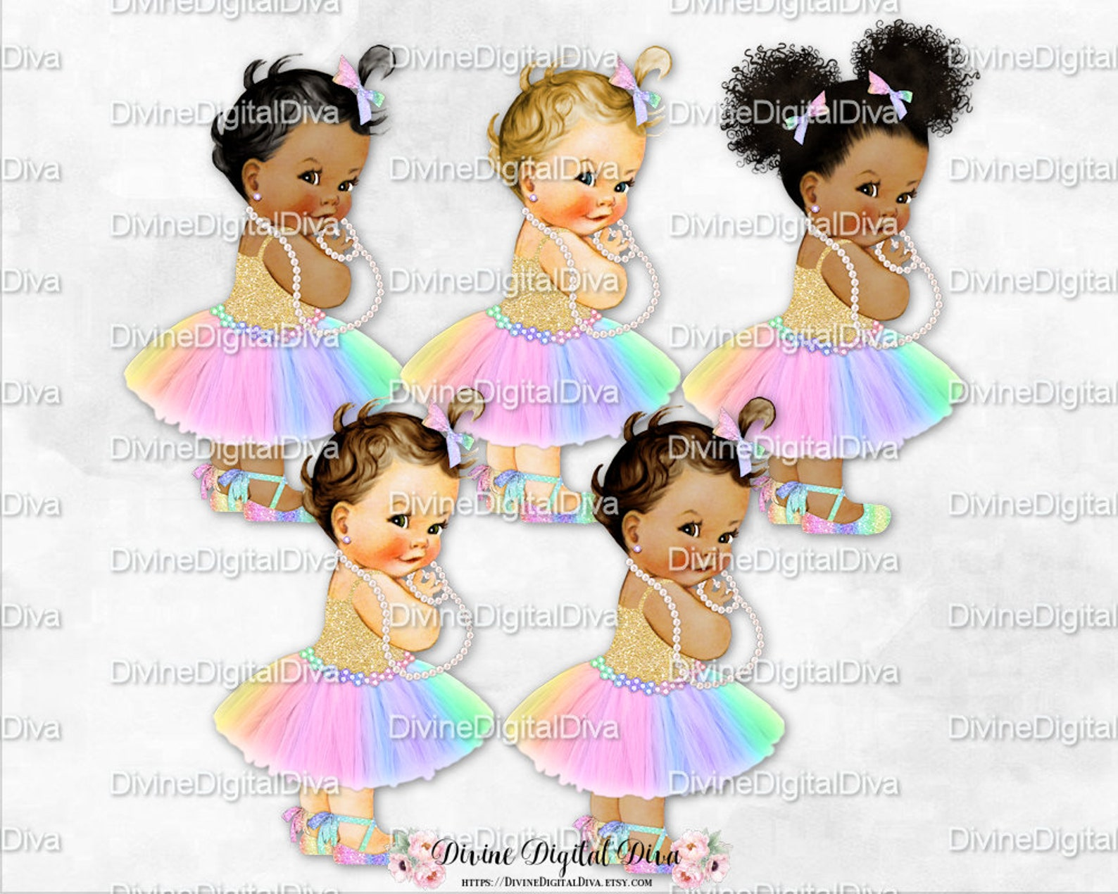 princess pastel rainbow tulle tutu ballet shoe gold shirt | vintage baby girl afro puffs | clipart instant download
