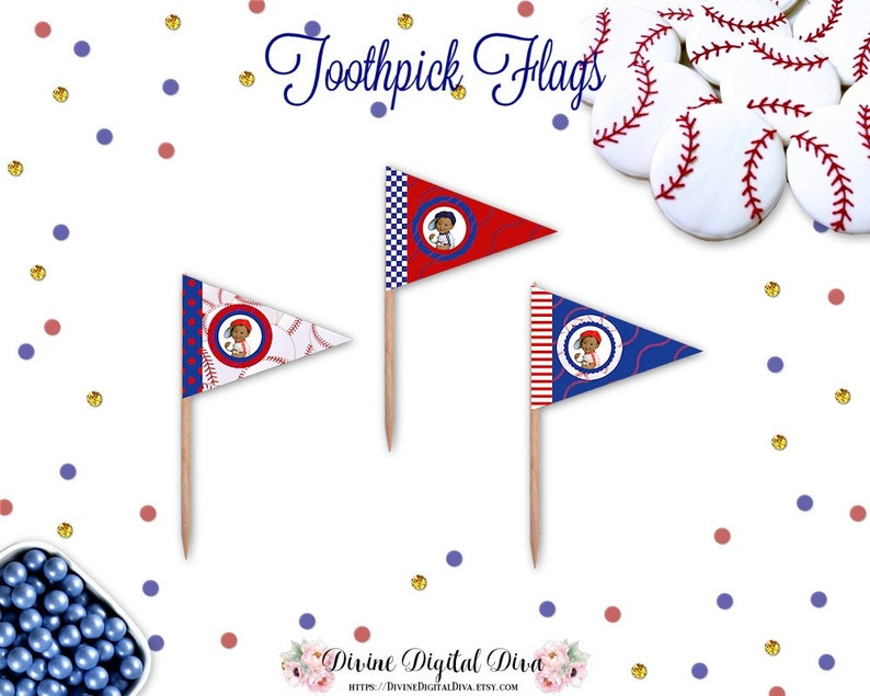 Lil Slugger African American Baseball Player Toothpick Flags | Red White  Blue | Digital Instant Download DIY Printable