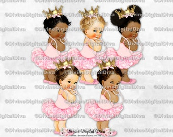 Princess Ballerina Pink Tutu Gold Crown Pearl Necklace | Baby Girl 3 Skin Tones | Clipart  Instant Download