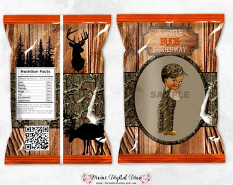 Printable Chip Bags Little Buck Hunter Mossy Oak Camo Beige Orange Taupe | African American Vintage Baby Boy | Digital Instant Download