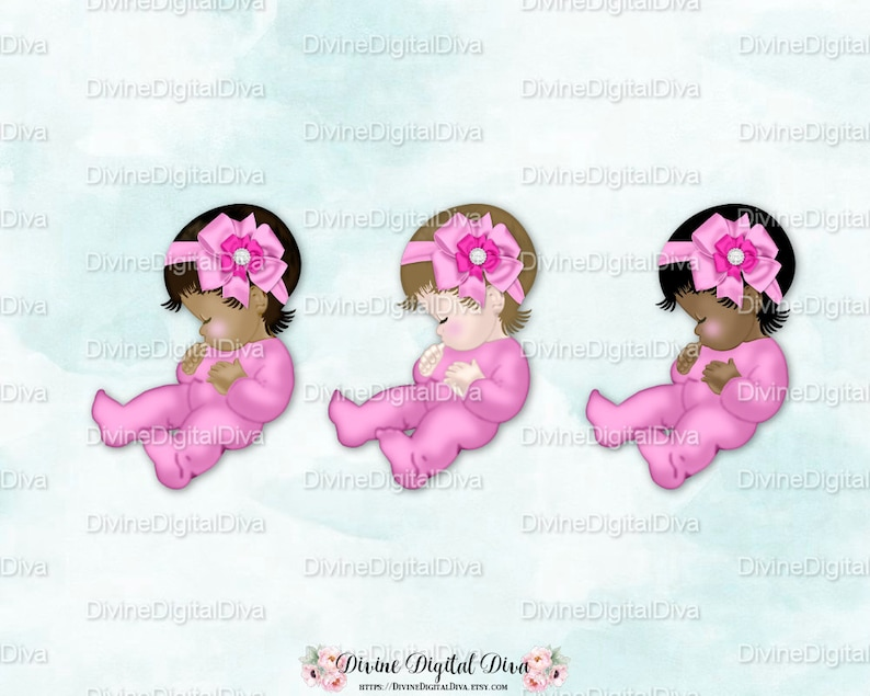 Clipart Instant Download Sleeping Baby Girl 3 Skin Tones Pink One Piece Footie Pajamas Head Bow with Diamonds