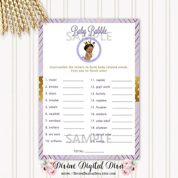 Baby babble word scramble floral baby shower printable game | etsy.