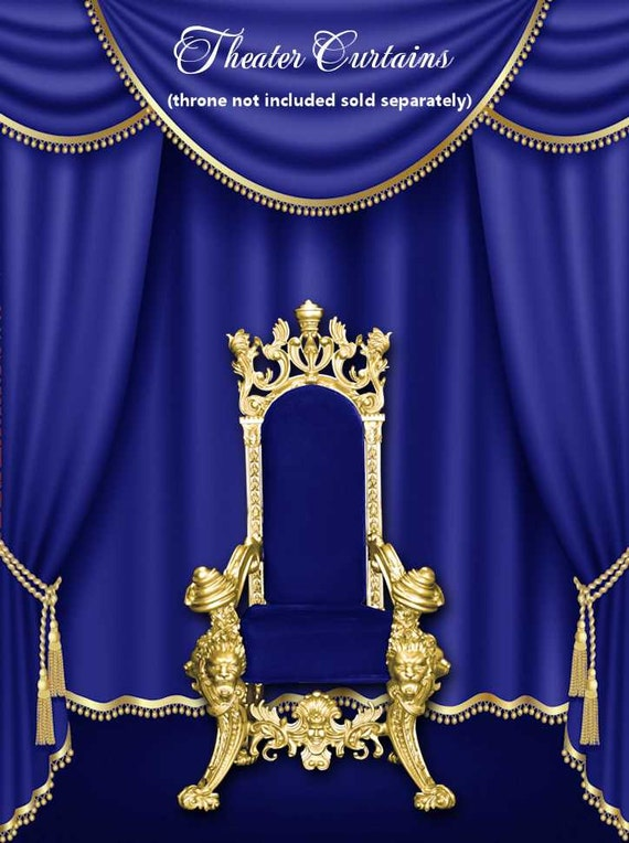 2 Color Curtains Drapes Gold Silver Trim Royal Blue Red Etsy