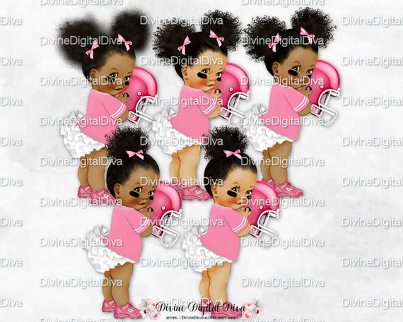 Clipart Instant Download Ruffle Pants Teal /& White Football Player Jersey Cleats 3 Skin Tones Vintage Baby Girl Afro Puffs
