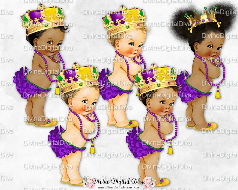 Mardi Gras Princess Ruffle Pants Purple Gold Green Crown Gems Necklace Afro Puffs Vintage Baby Girl 3 Skin Tones Clipart Download