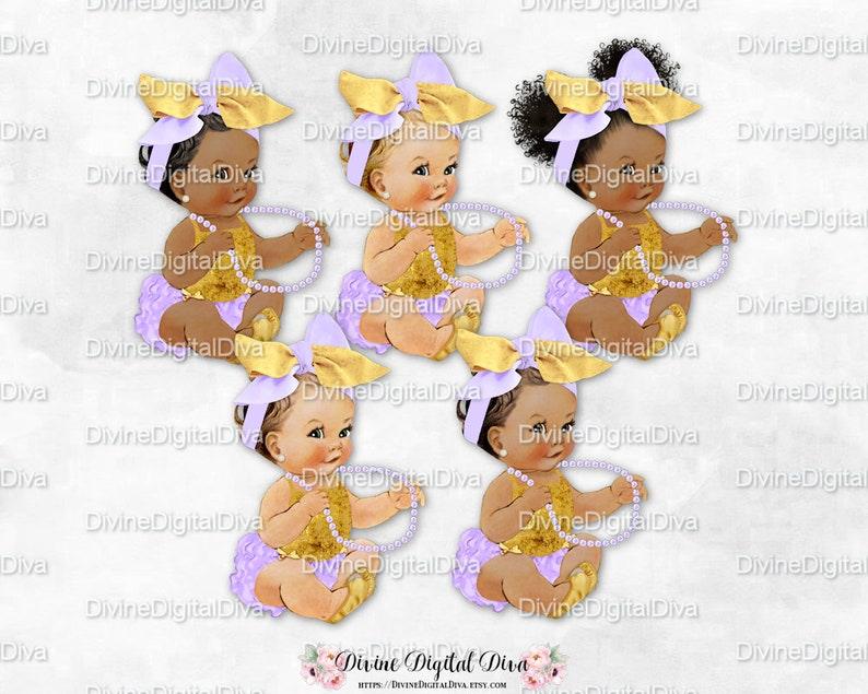 Clipart Instant Download Princess Ruffle Pants Baby Sister Lavender /& Gold Head Bow Ballet Slipper Pearls Vintage Baby Girl 3 Skin Tones